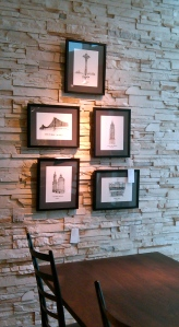 "m wood ""cityscapes"" framed architectural prints, crate&barrel"