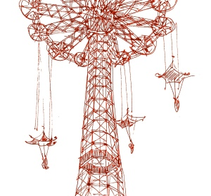 red m wood coney island parachute drop w parachutes