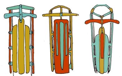 trois sleds, m wood