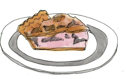 m wood slice of pie