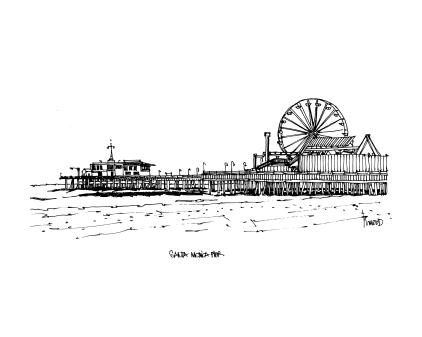 Cityscape Santa Monica Pier, Los Angeles