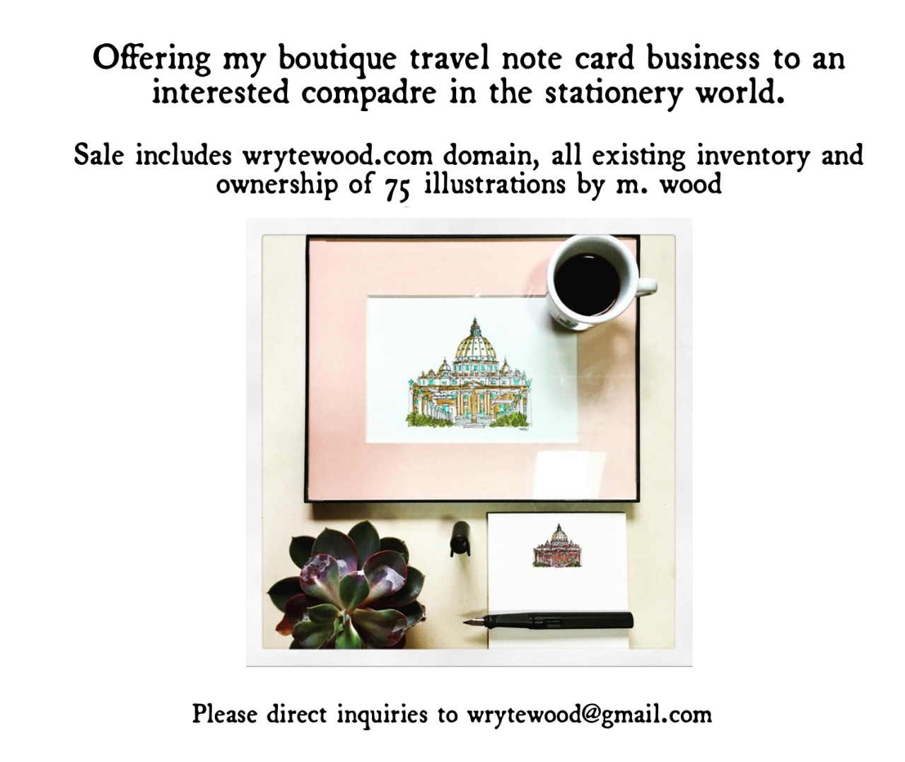 Offering my boutique travel note card business for sale.