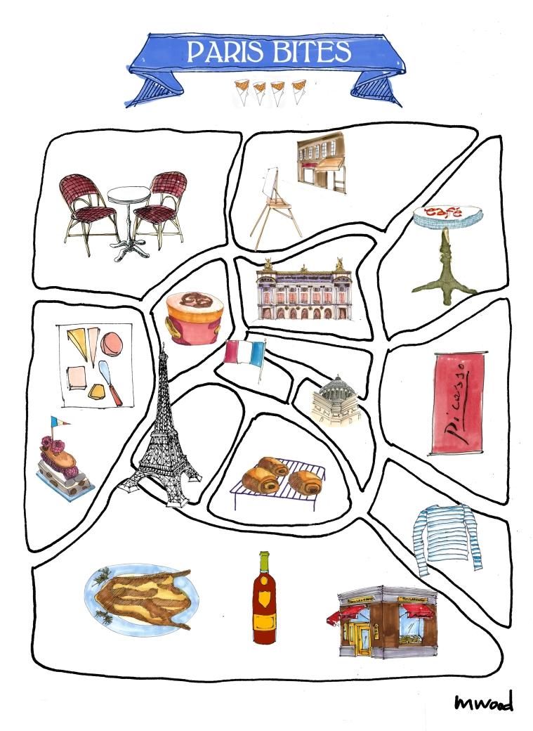 M WOOD PLOT A PARTY PARIS BITES MAP