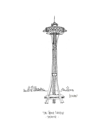Seattle Space Needle @mwoodpen