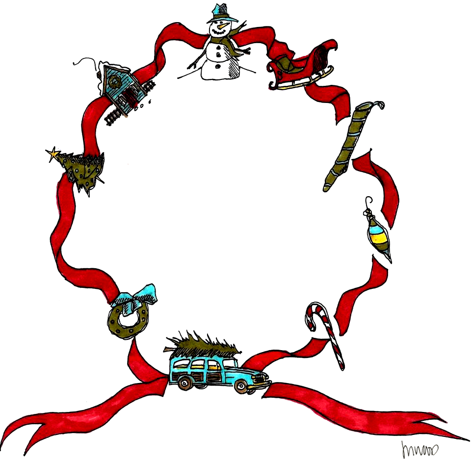 M WOOD CHRISTMAS RIBBON WREATH