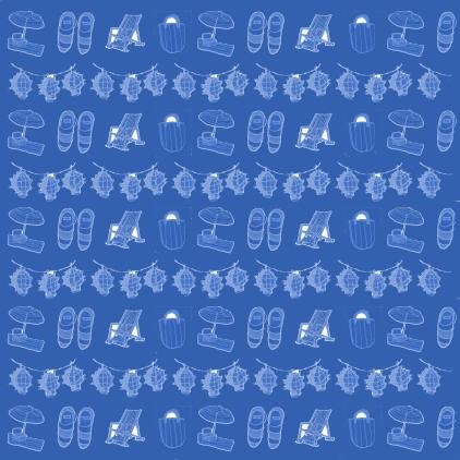 M WOOD BEACH pattern STRIPES SEA BLUE