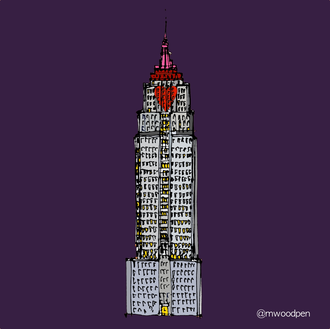 M WOOD EMPIRE STATE VALENTINE