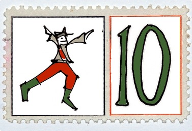 Ten Lords A Leaping Stamp @mwoodpen