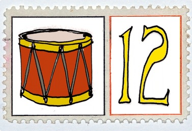 Twelve Drummers Drumming Stamp @mwoodpen
