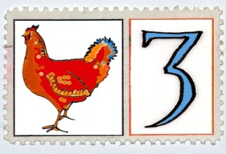 Three French Hens Stamp @mwoodpen
