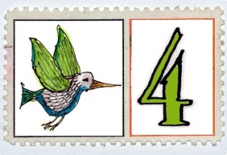 Four Colly Birds Stamp @mwoodpen