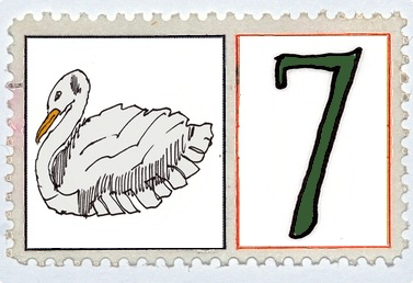 Seven Swans A Swimming Stamp @mwoodpen