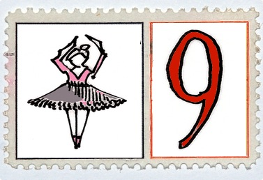 Nine Ladies Dancing Stamp @mwoodpen